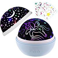 Blue Unicorn Gifts,Night Light for Unicorn Galaxy Bedroom,Birthday Gift for Girls Age 1-12,Unicorn Stars Moon and Unicorn Projector, Globe Projector lamp(Unicorn Blue)