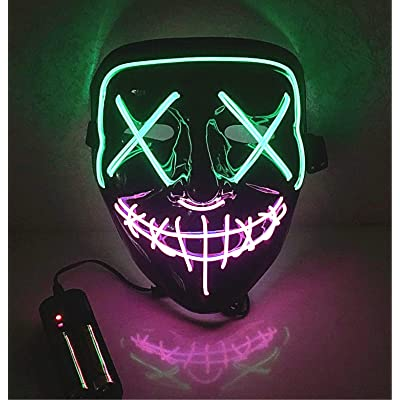 Moonideal Halloween Light Up Mask EL Wire Scary Mask for Halloween Festival Party Sound Induction Flash with Music Speed (Green and Pink): Toys & Games