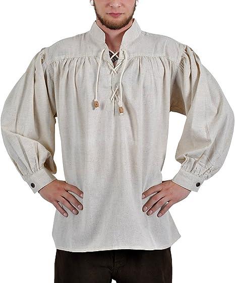 Elbenwald Medieval Hombre Camisa: Adalberto, con Cordones, Color Natural: Amazon.es: Ropa y accesorios