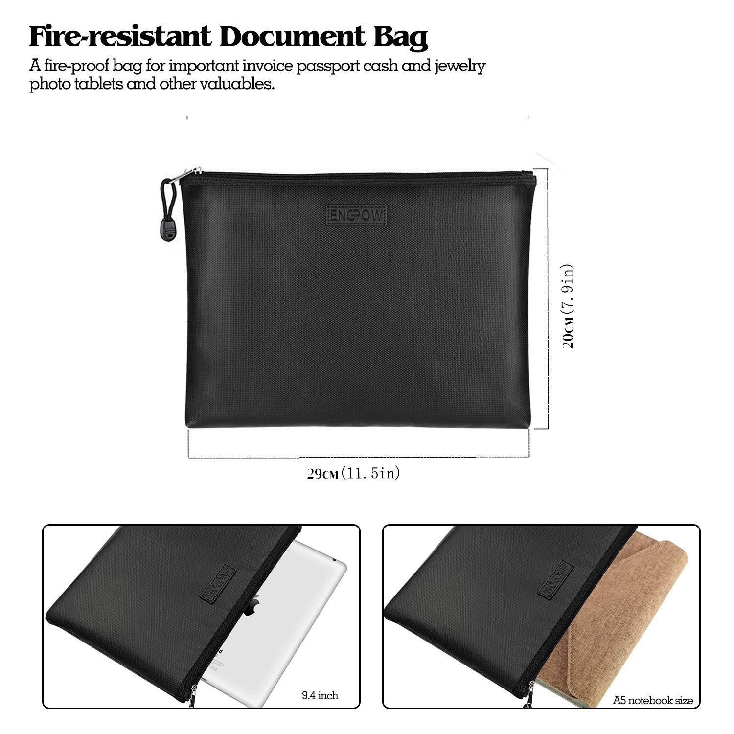 ENGPOW Fireproof Money Bag/Silicone Coated Fire Water Resistant for Document, Securit Bank Deposit with Utility Zipper Coin Bag,11.5X7.9 inches Check Wallet,Black by ENGPOW (Image #6)