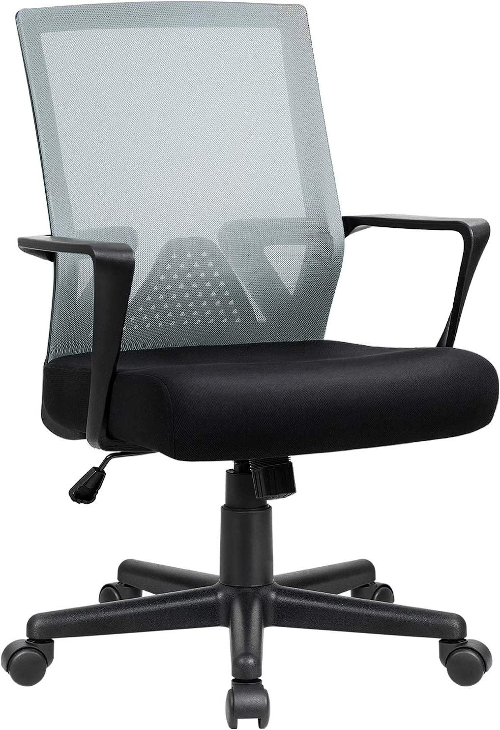 Furniwell Office Chair Ergonomic Desk Chair Mid Back Modern Computer Chair Task Swivel Chair Mesh Adjustable Chair with Lumbar Support Armrest (Grey)