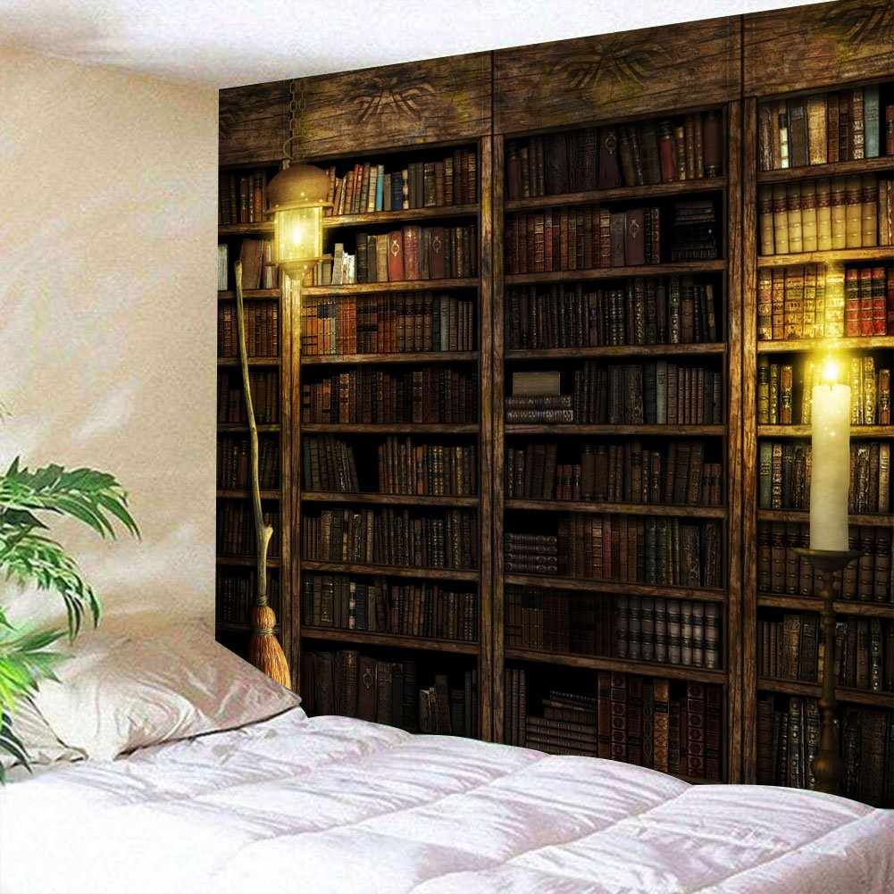 Vintage Library Bookshelf Tapestry Wall Hanging Study Room Picture Art Print Tapestry Retro Bookshelf Wall Art Bohemian Hippie Wall Tapestries for Bedroom College Dorm Decor
