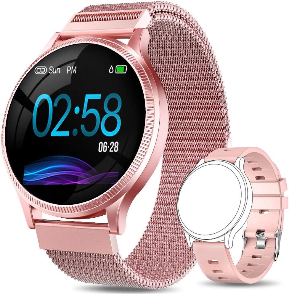 AIMIUVEI Smartwatch Mujer, Reloj Inteligente Mujer con Pulsómetro, Impermeable IP67, Presión Arterial, Monitor de Sueño Calorías, Podómetro, Reloj Deportivo Mujer para iOS y Android