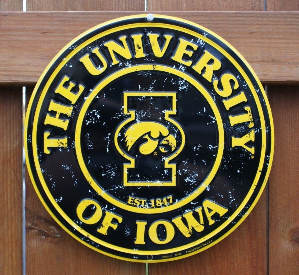 "University of Iowa Hawkeyes 12"" Round Circle Sign"