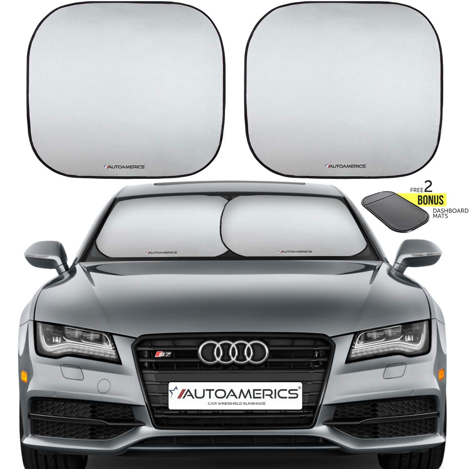 Autoamerics Windshield Sun Shade 2-Piece Foldable