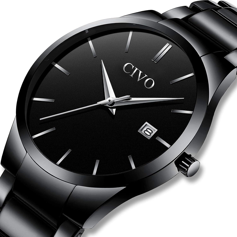 CIVO Relojes para Hombre Acero Inoxidable Impermeable Reloj de Pulsera de Lujo Fecha Calendario Clásicos Analogicos Reloj de Cuarzo Negocio Casual Simple