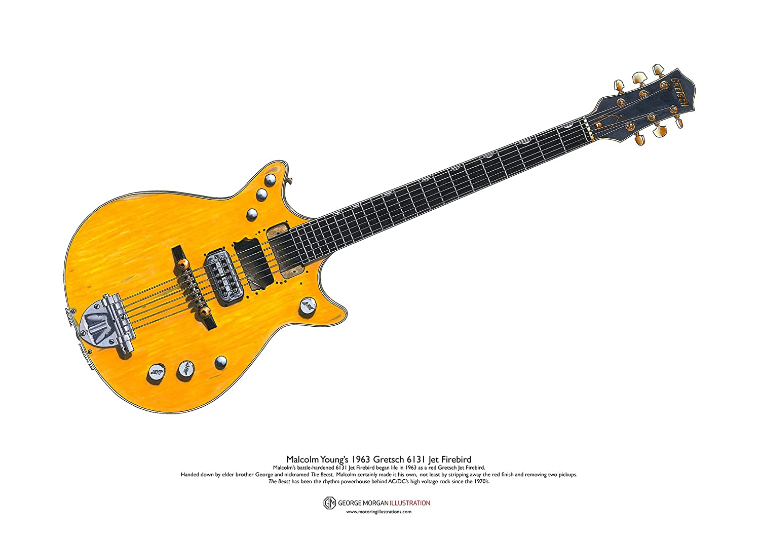 George Morgan Illustration Arte Cartel 1963 Gretsch 6131 Jet ...