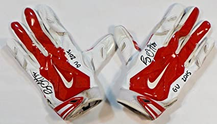 88b316054fa Ryan Griffin Houston Texans Autographed 2015 Game Used Nike Gloves Red White  1 - NFL