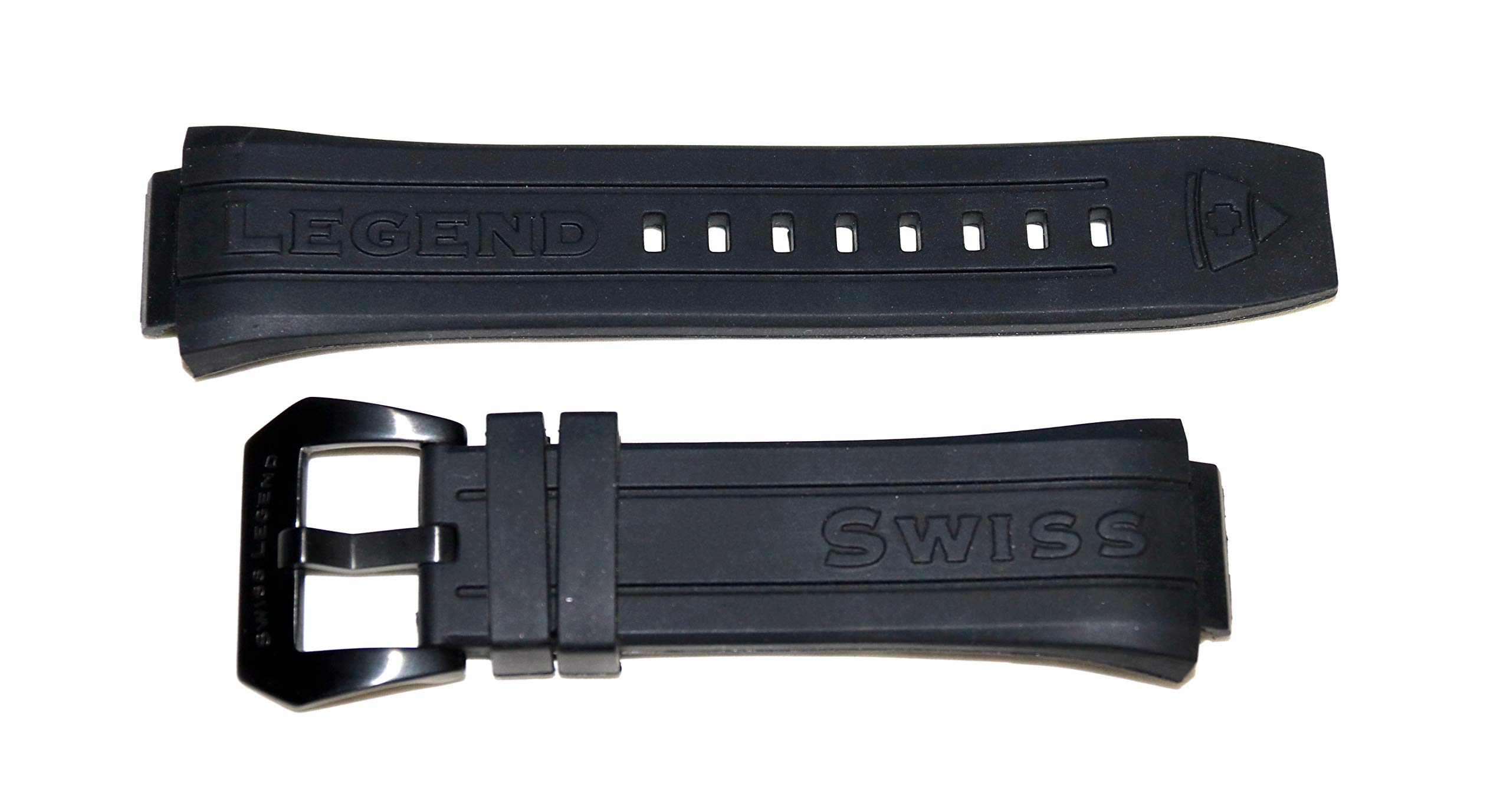 Swiss Legend 28MM Black Silicone Watch Strap Black Stainless Buckle fits 44mm Trimix Diver Watch by SWISS LEGEND (Image #2)