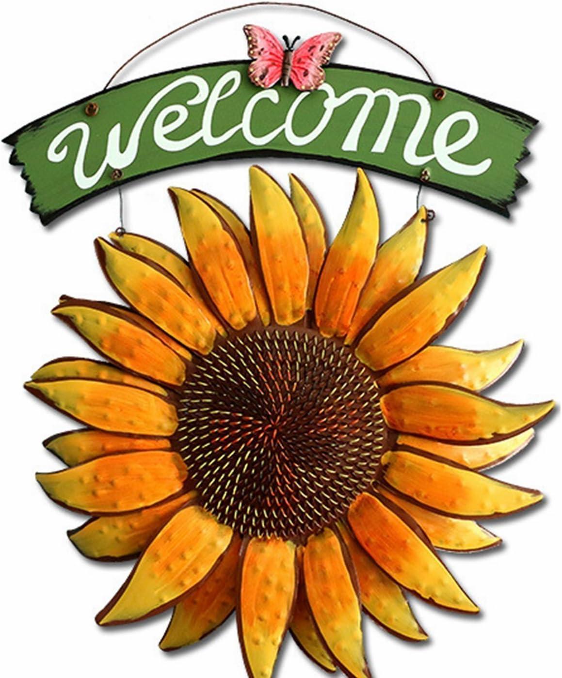 Grace Home Metal Vintage Hanging Flower Welcome Sign Door Decor (15