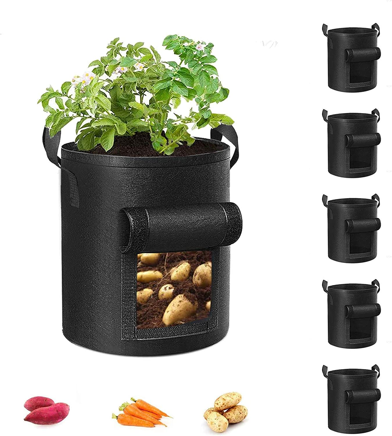 Cavisoo 5-Pack 10 Gallon Potato Grow Bags, Velcro Window Garden Planting Bag with Durable Handle, Thickened Nonwoven Fabric Pots for Tomato, Vegetable and Fruits
