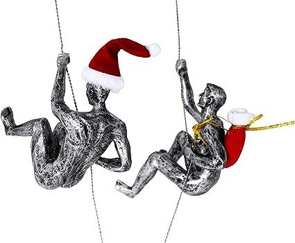 Haute Collage Duo de Rappel de Escalada en Plata Antigua 2 escaladores Adornos Colgantes Figuras Conjunto de Dos escaladores
