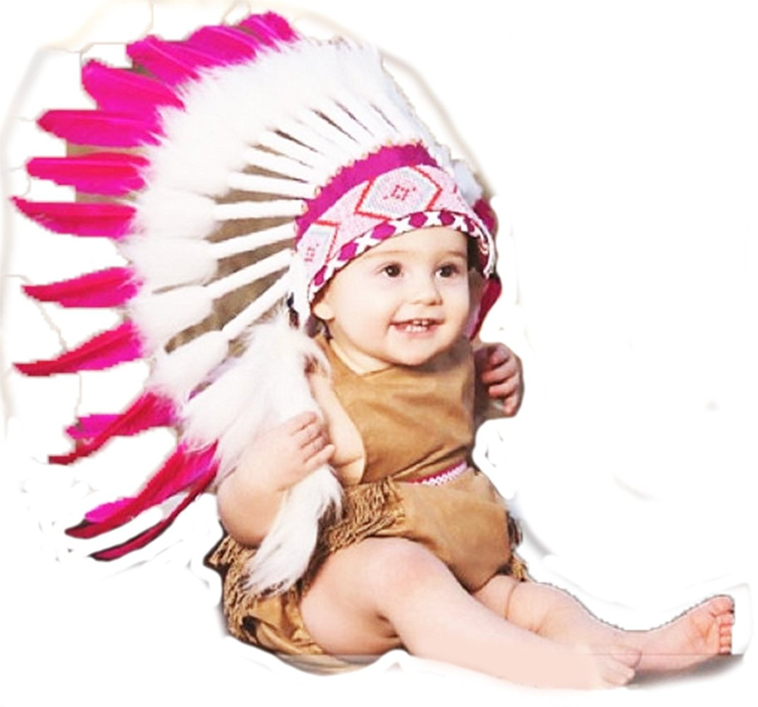 N10- for 9 to 18 Month Toddler/Baby: Pink Native American Style Indian Inspired Headdress for The Little Ones ! by KARMABCN