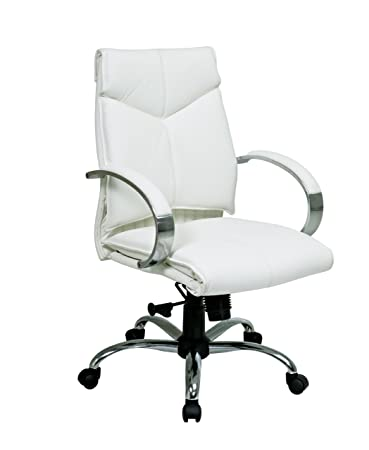 Office Star Deluxe Mid Back White Leather Executive Chair With Chrome  Finish Base And Padded Polished