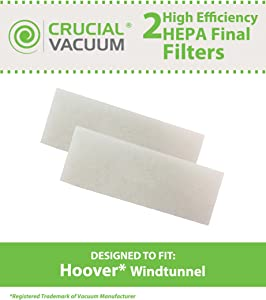 2 Hoover WindTunnel Final Filter Fits Hoover WindTunnel, Hoover Tempo Widepath and Fold Away Vacuum Cleaners; Compare to Hoover Final Filter 38766-008, 38766008; Engineered & Manufactured By Crucial Vacuum