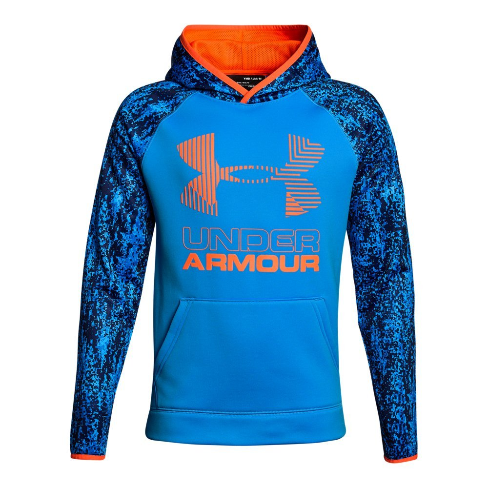 Under Armour Kids Boy's SG Armour Fleece Novelty Big Logo Hoodie (Big Kids) Mako Blue/Mako Blue/Magma Orange Small