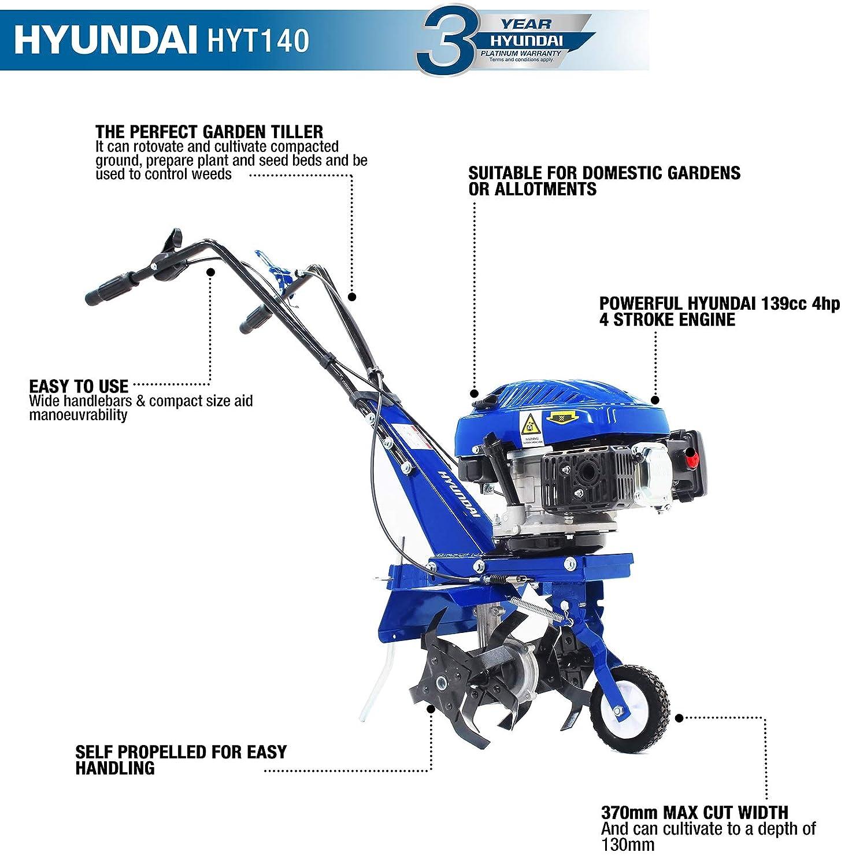 Hyundai 139 cc 4-Stroke Petrol Garden Tiller RotoTiller HYT140 2.5 ...