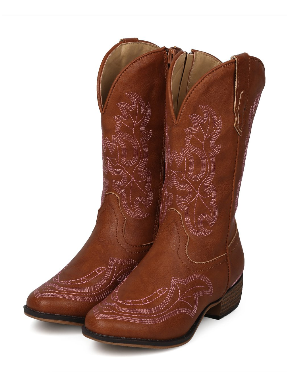 Alrisco Girls Leatherette Embroidered Tall Cowboy Boot HG02 - Tan Leatherette (Size: Little Kid 1) by Alrisco (Image #4)