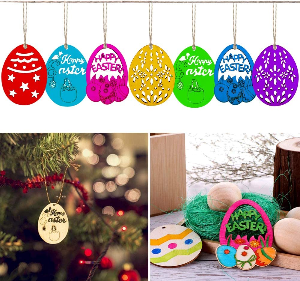 CHEPL 40 Piezas de Madera sin Terminar Huevos de Pascua,Huevo de Pascua Ahuecan Rebanadas de Madera,Discos de Huevos en Blanco Rebanadas Etiquetas DIY Pascua Colgante Adorno Colgante