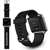 TERSELY Band Strap for Fitbit Blaze, Soft Silicone Rubber Sport Wrist Strap Watch Band Bracelet Stainless Steel Buckle for Fitbit Blaze Fitness Tracker - Small Black