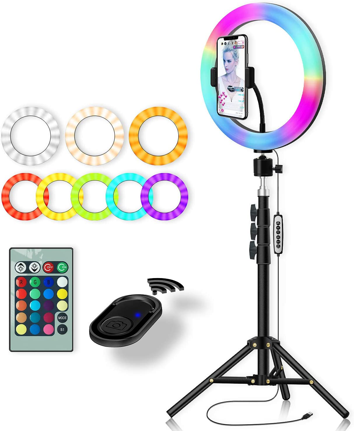 Amazon Com Rgb Color Ring Light Yingnuost 10 Inch Led Remote Control Circle Lamp With Phone Holder Camera Tripod Stand For Photography Lighting Selfie Iphone Filming Tik Tok Youtube Video Recording