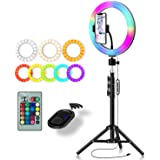 RGB Color Ring Light: Yingnuost 10 inch Led Remote Control Circle Lamp with Phone Holder & Camera Tripod Stand for…