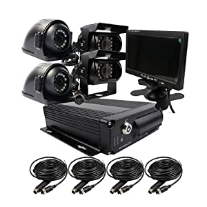 JOINLGO 4 Channel H.264 2.0MP 1080P AHD Dual 128GB SD Mobile Vehicle Car DVR MDVR Video Recorder Kit Night Vision Waterproof Side Front Rear View Car Camera 7 inch Car Monitor
