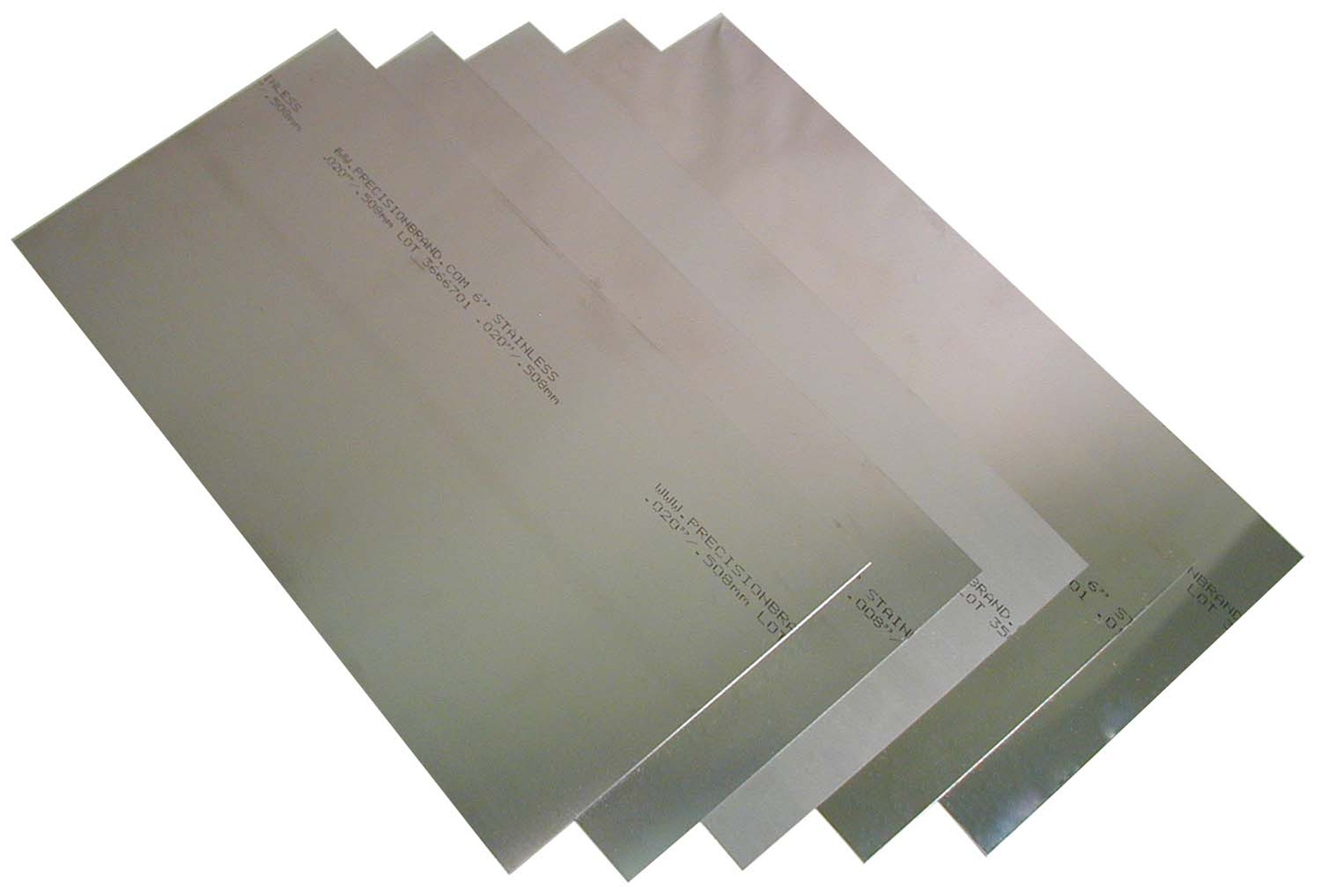 302 Stainless Steel Sheet, Unpolished (Mill) Finish, Full Hard Temper, 0.001-0.020'' Thickness, 6'' Width, 12'' Length (Pack of 8) by Small Parts