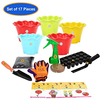 Gate Garden 5 Flower Seeds with Hand Gloves, 2 Tools, Garden Trowel, Khurpi for Small Pots, Organic Manure and Kraft Agro Peat, 3.5-inch (Pack of 5)