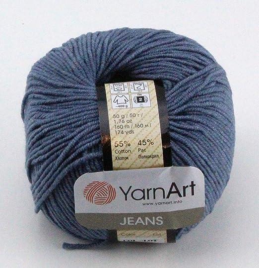 YarnArt Jeans Hilo de algodón Amigurumi Baby Hilo 50 g Yarn Art 160 m/50 g Color Gris 68: Amazon.es: Juguetes y juegos