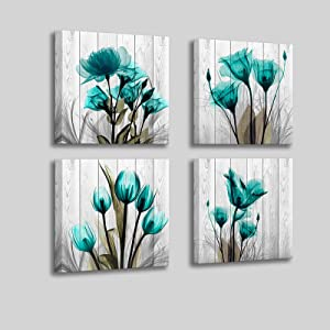 Flower Wall Decor for Bedroom Living Room - Inspirational Tulip Canvas Wall Art Prints House Decor - 14x14 inches Each Panels