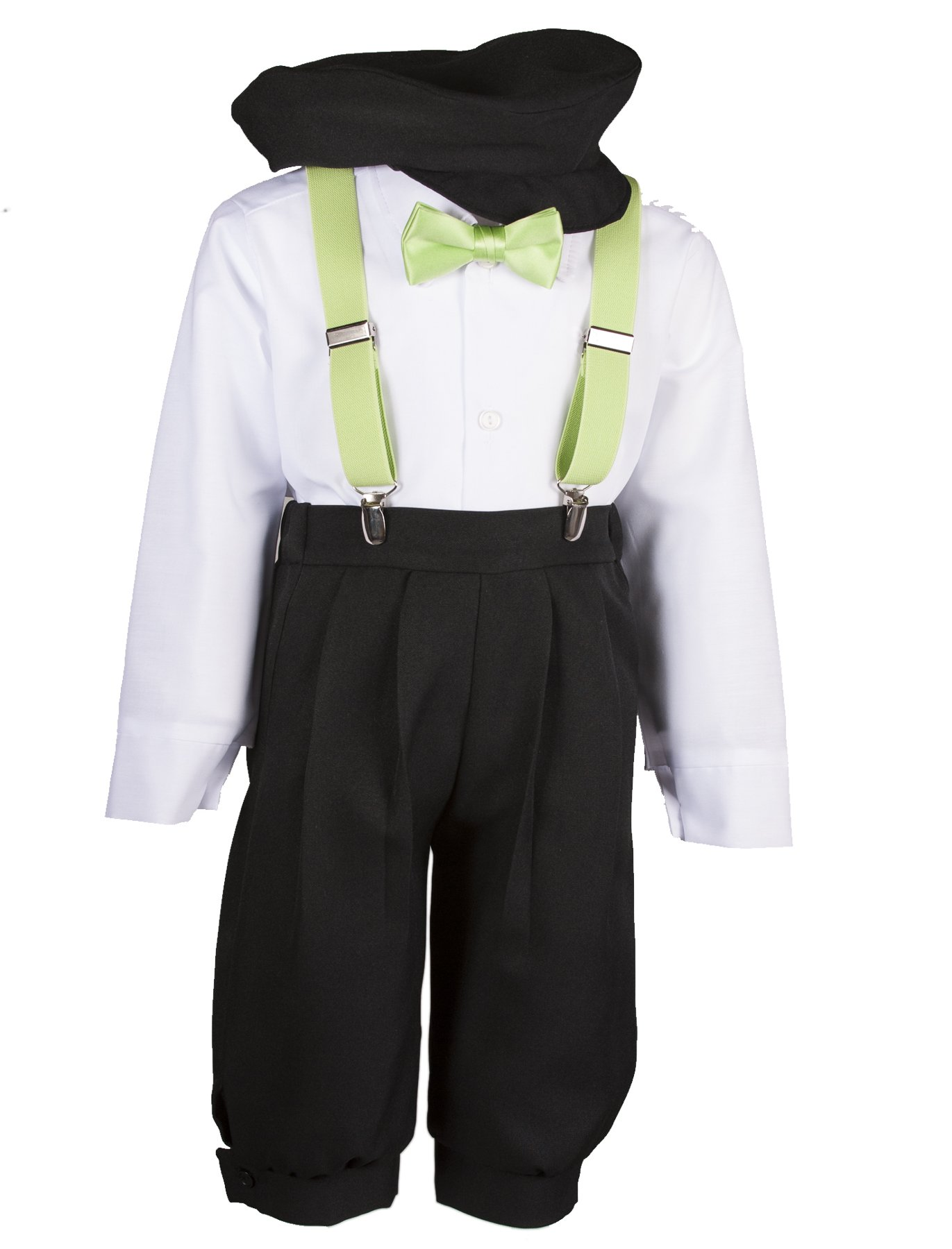 Boys Black Knickers Set Pageboy Cap Lime Suspenders & Bow Tie (4 Boys)