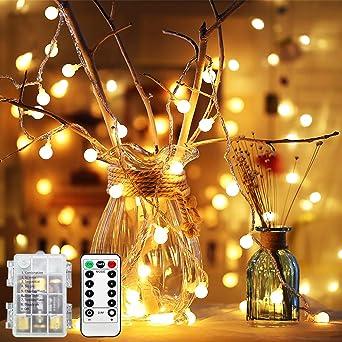 Batterie Weihnachtsbeleuchtung Aussen.50 Leds Globe Lichterkette Warmweiß Batterie Ysdroyal 5m Wasserdicht Weihnachtsbeleuchtung Innen Und Außen Lichterketten Fernbedienung