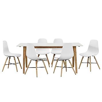 en.casa] Design Esstisch mit 6 Stühlen weiß/Bambus (180x80cm ...