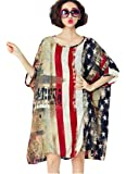 American Flag Loose Sundress Plus Size Swimsuit Cover Up Dress T-Shirt for Women