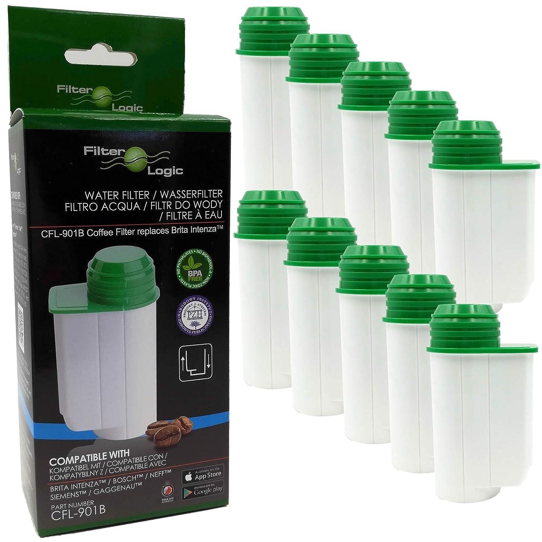 10 x FilterLogic CFL-901B cartuccia filtrante compatibile con BRITA Intenza TCZ7003 - TZ70003 - TCZ7033 - 575491 per Bosch / Siemens macchine da caffè - compatibile BRITA Aqua Aroma Crema filtro acqua