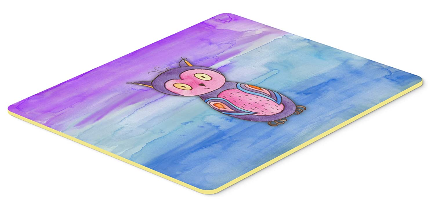 24H X 36W multicolor Carolines Treasures BB7427JCMT Pink and Purple Owl Watercolor Kitchen or Bath Mat 24x36