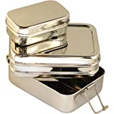 Medium 3-in-1 Lunch Box - Stainless Steel Meal Container with 3 Compartments