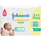 JOHNSON'S Newborn Baby Wipes - CottonTouch, Extra Sensitive Free of alcohol, dyes and fragrance, 2 + 1 Packs of 56 wipes, 168 total count