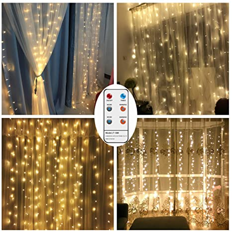 Remote Curtain String Led lights, Battery Operated 300 LED Icicle Curtain  Lights, 8 Lighting - Amazon.com : Remote Curtain String Led Lights, Battery Operated 300