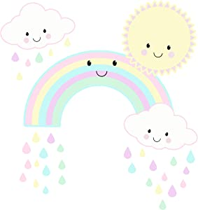 "Cute Kawaii Baby Nursery Wall Decals Decor Smiley Rainbow Sun Clouds Kids Room Pastel Pink Girls Wall Stickers, Vinyl Art for Bedroom, Peel n' Stick Children's Decoration, Toddler Playroom 11"" x 14"""