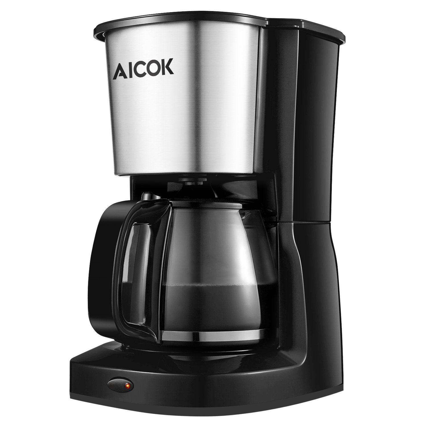 Aicok 10-Cup Home Coffee Maker Drip Coffee Machine Basket Filter Finish Includes Glass Coffee Pot, One Touch Coffee Brewer Brushed Stainless Steel, Black