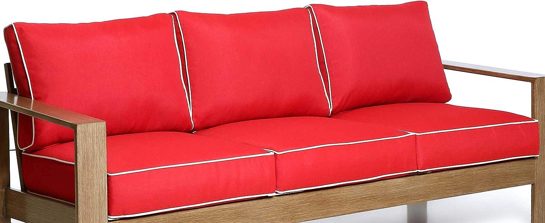 Creative Living Patio Furniture Red-3Cushion Sofa Cushions,Deep Seat Cushion & Pillow for Outdoor, Red