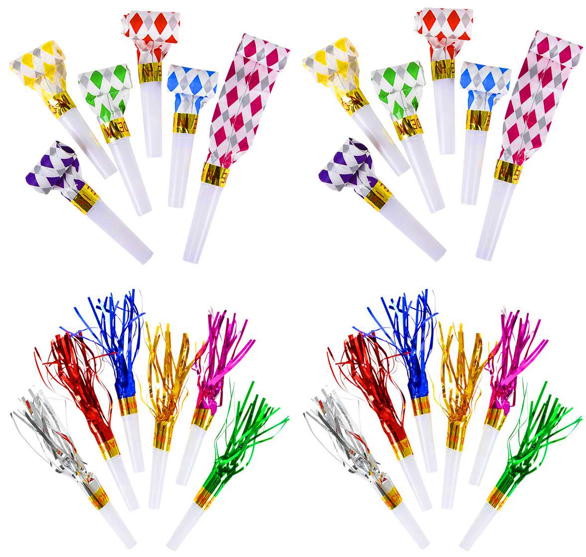 Blowout Noisemakers And Fringed Noisemakers Toys Bulk Pack of 288, New Years Party Noisemaker, Musical Whistles, Assorted Colors, 144 Fringed Party Horns 7'', 144 BlowOuts 11'' Party Favors, By 4E's Novelty by 4E's Novelty