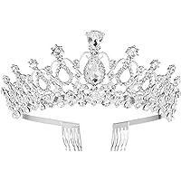 Frcolor Bridal Crystal hoofdband Crown Tiara met kam, voor bruiloft, verjaardag, verjaardag