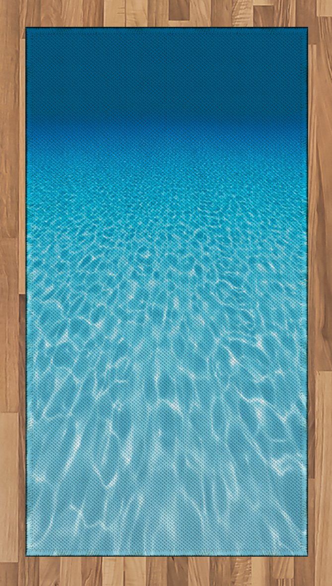 Lunarable Ocean Area Rug, Tranquil Underwater Scene Clean Sandy Bottom Surface Sunlights Coming from up, Flat Woven Accent Rug for Living Room Bedroom Dining Room, 2.6 x 5 FT, Blue and Aqua
