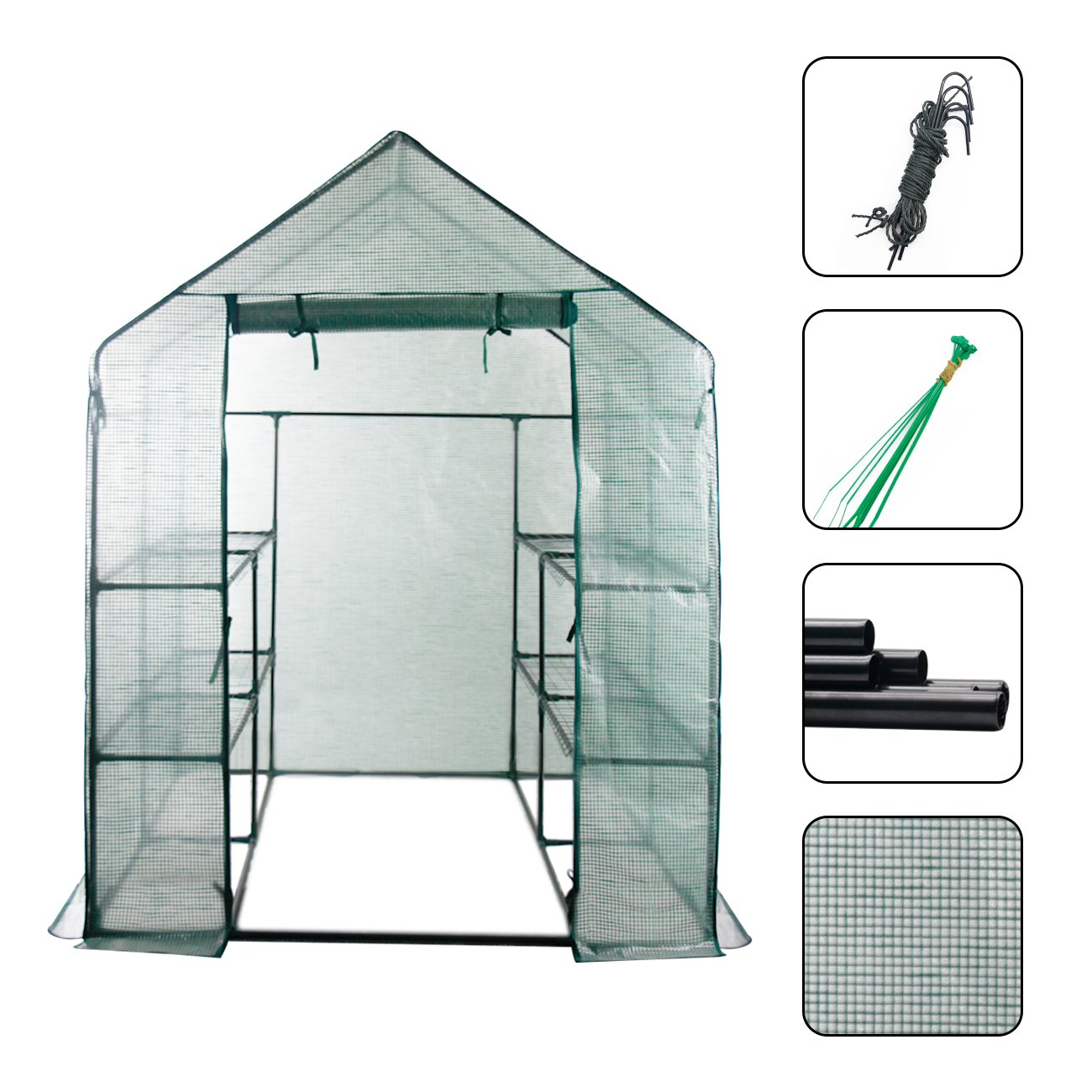 AODAILIHB Reinforced PE Net 6 Layers 8 Shelves Greenhouse Suitable for Lawn and Garden Steel Structure Assembly, 8 Fixed Buttons 4 Floor Fasteners, H x L x W:76.77 x 56.29 x 56.29 inch (02) by AODAILIHB (Image #2)