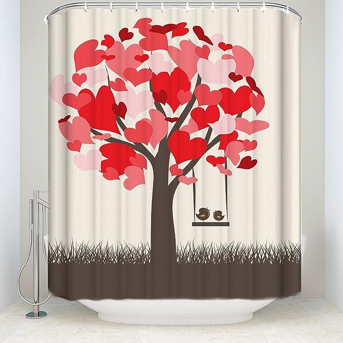 Retro corazón árbol Swing cortinas de ducha de tela de poliéster ...