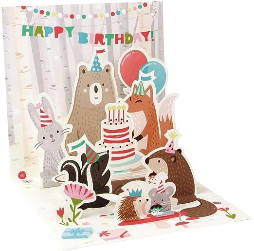 Pop Up 3d tarjeta Cumpleaños Tarjeta de felicitación Bosque ...
