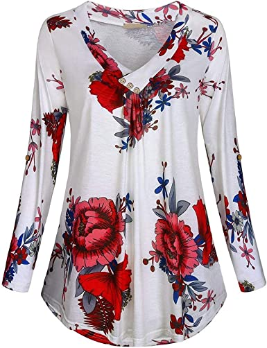 Kneris Mujeres Camisa Elegante Estampado de Flores Blusa Mangas ...